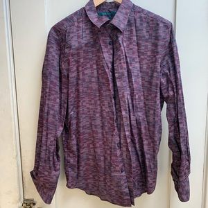 Red block pattern long sleeve button-up (Mens L)